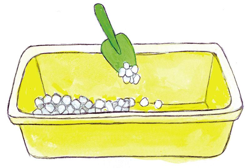 鉢底石を敷き詰める